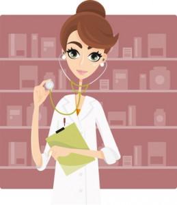 Farmacista/dottoressa con stetoscopio e camice